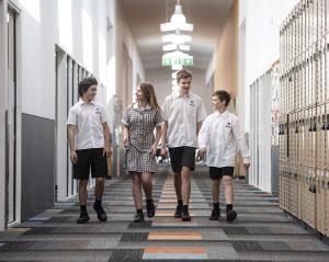Students walking in hallway